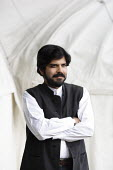 Writer Pankaj Mishra poses for pictures during the Edinburgh Book Festival. - Gerry McCann - 2000s,2006,ace culture,author,authors,BME Black minority ethnic,Scotland,Scottish,writer,writers