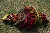 Local women use twine (made from the grass they harvest) which is then woven on simple looms to produce colourful handbags. At iSimangaliso Wetland Park, on South Africas east coast. - Gerry McCann - 28-04-2005