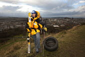 Fiona Lindsay is planning to be the first woman to make a crossing of the Antarctic in November 2009. She training by dragging old tyres on the Edinburgh's Salisbury Crags. - Gerry McCann - 17-01-2009
