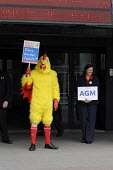Members of UNITE. some dressed up as chickens, lobby shareholders at TESCO AGM in Glasgow, Scotland, over the exploitation of workers in companies supplying meat to the industry.. - Gerry McCann - 2000s,2009,activist,activists,CAMPAIGN,campaigner,campaigners,CAMPAIGNING,CAMPAIGNS,chicken,chickens,DEMONSTRATING,demonstration,DEMONSTRATIONS,Diaspora,EARNINGS,eu,european,europeans,exploitation,for