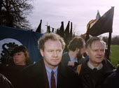 Martin McGuinness, chief negotiator of Sinn Fein, on a march in Manchester - Paul Herrmann - 1990s,1995,activist,activists,Army,Bloody,CAMPAIGN,campaigner,campaigners,CAMPAIGNING,CAMPAIGNS,DEMONSTRATING,DEMONSTRATION,DEMONSTRATIONS,IRA,Irish,manchester,martyrs,nationalism,nationalist,NATIONAL