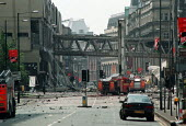 Immediate aftermath of IRA bomb in Manchester, UK, 15 June 1996 - Paul Herrmann - 1990s,1996,bomb,bombing,bombings,bombs,device,devices,explosion,EXPLOSIONS,explosive,explosives,IRA,Ireland,IRISH,Manchester,Northern Ireland,paramilitary,Provisional Irish Republican Army,scene,scene