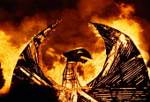 Burning of wooden phoenix at the opening of Hulme Arch bridge, Manchester, UK - Paul Herrmann - 10-05-1997