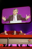 Prime Minister Tony Blair and deputy John Prescott applaud Chancellor Gordon Brown's speech at the 2006 Labour Party Annual Conference, Manchester, UK. - Paul Herrmann - 25-09-2006
