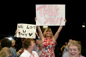 Tony Blair supporters wave banners saying We Love U Tony and Thank You at Labour Party Annual Conference, G-Mex, Manchester, UK - Paul Herrmann - 26-09-2006