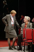 Angela Eagle chatting to Dennis Skinner at the 2006 Labour Party Annual Conference, Manchester, UK. - Paul Herrmann - 2000s,2006,Conference,conferences,Manchester,mp,Party,POL politics,woman women