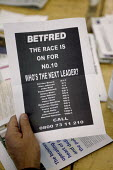 Odds on the next prime minister after Blair circulated at the 2006 Labour Party Annual Conference, Manchester, UK. Sheet reads: Betfred the race is on for no 10 who's the next leader? Alan Johnson, Al... - Paul Herrmann - 27-09-2006