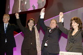 Tony and Cherie Blair, John and Pauline Prescott celebrate at the end of the 2006 Labour Party Annual Conference, Manchester, UK. - Paul Herrmann - .,2000s,2006,Conference,conferences,Manchester,mp,Party,POL politics,woman women