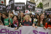 Anti-war demo outside Labour Leadership Conference, Manchester. Young women school students. - Paul Herrmann - 24-06-2007