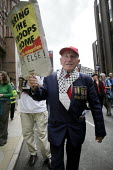 Anti-war demo outside Labour Leadership Conference, Manchester. Older man with medals holds placard saying Bring the troops home or else. - Paul Herrmann - 24-06-2007