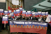NUJ stand up for journalism rally in Manchester. NUJ President Michelle Stanistreet and General Secretary Jeremy Dear join other journalists outside Manchester Evening News office. - Paul Herrmann - 2000s,2007,activist,activists,banner,banners,CAMPAIGN,campaigner,campaigners,CAMPAIGNING,CAMPAIGNS,DEMONSTRATING,DEMONSTRATION,DEMONSTRATIONS,Evening,journalism,journalist,journalists,leeds,Manchester