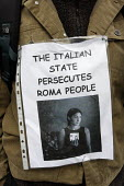 Protestor with sign pinned to chest outside the Italian Consulate in Manchester to demonstrate at the persecution of Roma people by the Italian state. - Paul Herrmann - 19-09-2008