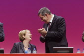Gordon Brown applauds Jacqui Smith after her speech at Labour Party Conference 2008, Manchester, UK. - Paul Herrmann - 21-09-2008