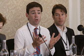 Andy Burnham (L) with Patrick Butler of The Guardian at fringe meeting on lotter funding at Labour Party Conference 2008, Manchester. - Paul Herrmann - 21-09-2008