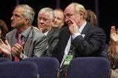 Neil Kinnock wipes his eye while listening to a speech by his wife Glenys at Labour Party Conference 2008, Manchester. - Paul Herrmann - 22-09-2008
