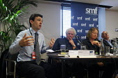 Andy Burnham MP speaks at a Social Market Foundation fringe meeting at Labour Party Conference 2008, Manchester. Also seen are novelist Mal Peet, Emily Bell of The Guardian - Paul Herrmann - 22-09-2008