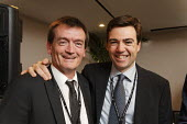 Feargal Sharkey (former musician and music industry representative) with Andy Burnham MP at fringe meeting at Labour Party Conference 2008, Manchester. - Paul Herrmann - 2000s,2008,capitalism,capitalist,Conference,conferences,EMOTION,EMOTIONAL,EMOTIONS,Industries,industry,maker,makers,making,meeting,MEETINGS,Party,POL Politics,producer,production,smile,SMILES,smiling,