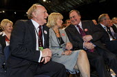 Neil Kinnock, Glenys Kinnock and John Prescott share a joke before the leader's speech at Labour Party Conference 2008, Manchester. - Paul Herrmann - 2000s,2008,communicating,communication,Conference,conferences,conversation,conversations,dialogue,discourse,discuss,discusses,discussing,discussion,FEMALE,funny,humor,humorous,HUMOUR,JOKE,JOKES,joking