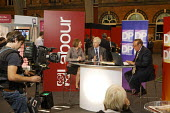 Andrew Neil interviews Anne McElvoy of the London Evening Standard and Andrew Porter of the Telegraph for the Daily Politics television show from Labour Party Conference 2008, Manchester. - Paul Herrmann - 24-09-2008