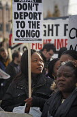 Demonstration against humanitarian crisis in Democratic Republic of Congo, in Manchester, UK. Woman's placard reads Don't Deport to the Congo. - Paul Herrmann - 08-11-2008