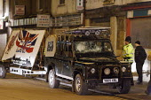 """A Land Rover and trailer advertising the BNP """"save our culture"""" in Leigh, Greater Manchester, UK. The vehicle was damaged during a protest which prevented the BNP meeting in the town. - Paul Herrmann - 13-03-2009"""