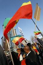 Ethiopian protestors outside London G20 Summit, Excel Centre. - Paul Herrmann - 02-04-2009