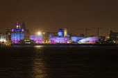 Skyline and waterfront of Liverpool, UK, at night. - Paul Herrmann - 10-01-2009