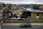 The smoking remains of Manningham Labour Club the morning after riots in Bradford - Paul Herrmann - 08-07-2001