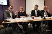 David Fox, co-founder of Tampopo, talks at Demos skills and education fringe meeting at Labour Party Conference 2012 in Manchester, UK. Left to right, Professor Lorna Unwin of the Institute of Educati... - Paul Herrmann - 01-10-2012