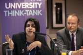 Shabana Mahmood MP talks at education fringe meeting at Labour Party Conference 2012 in Manchester, UK. In the background Paul Blomfield MP. Sign reads: The University Think-Tank; refers to the Millio... - Paul Herrmann - 01-10-2012