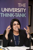 Shabana Mahmood MP talks at fringe meeting at Labour Party Conference 2012 in Manchester, UK. Sign reads: The University Think-Tank; refers to the Million+ organisation. - Paul Herrmann - 01-10-2012