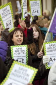 Protest against cuts in health services, hospital and A&E department in Bolton, Greater Manchester, UK. - Paul Herrmann - 01-12-2012