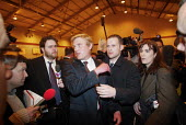 David Edwards BNP (centre, with fair hair) declined to talk to the media after winning the first council seat for the British National Party in elections in Burnley, Lancashire - Paul Herrmann - 03-05-2002