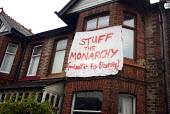 Stuff the Monarchy and Sell it to Disney, Queen's golden jubilee celebrations a banner on a house in Manchester reads Stuff the Monarchy and Sell it to Disney - Paul Herrmann - 04-06-2002
