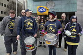 PCS strike on budget day 2013; drumming band joins picket outside the Manchester Civil Justice Centre, to defend jobs and services - Paul Herrmann - 20-03-2013