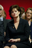 Cherie Booth watches her husband prime minister Tony Blair speak at Labour Party Annual Conference 2002, Blackpool, UK - Paul Herrmann - 2000s,2002,barrister,BARRISTERS,concentration,Conference,conferences,female,husband,lawyer,minister,Party,people,person,persons,pin,POL politics,serious,stripe,woman,women