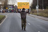 Protest against fracking - shale gas extraction - marched to the protest camp at Barton Moss, Salford, Greater Manchester, to coincide with the start of drilling at the site by IGas. - Paul Herrmann - 2010s,2014,activist,activists,against,anti,camp,CAMPAIGN,campaigner,campaigners,CAMPAIGNING,CAMPAIGNS,camps,DEMONSTRATING,demonstration,DEMONSTRATIONS,drilling,environment,Environmental Issues,Frack,F