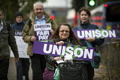 NHS workers including these from Unison on a picket as they take strike action for fair pay, Manchester Royal Infirmary. - Paul Herrmann - 13-10-2014