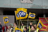 PCS picket and demonstration outside Manchester Civil Justice Centre, UK, part of one-day strike over civil service pay cap. - Paul Herrmann - 2010s,2014,arms,campaign,CAMPAIGNING,CAMPAIGNS,court courts,dispute,DISPUTES,EARNINGS,EQUALITY,Fair,FLAG,flag flags,flags,Income,INCOMES,INDUSTRIAL DISPUTE,inequality,living wage,low pay,Low Income,lo