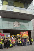 PCS picket and demonstration outside Manchester Civil Justice Centre, UK, part of one-day strike over civil service pay cap. - Paul Herrmann - 2010s,2014,arms,banner banners,campaign,CAMPAIGNING,CAMPAIGNS,court courts,dispute,DISPUTES,EARNINGS,EQUALITY,Fair,FLAG,flag flags,flags,Income,INCOMES,INDUSTRIAL DISPUTE,inequality,living wage,low pa