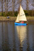 Small sailing boat at an urban water park in Sale, Greater Manchester - Paul Herrmann - 18-03-2003