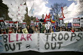 Anti-war protestors march though Manchester during the Labour party spring conference in the city. - Paul Herrmann - 13-03-2004