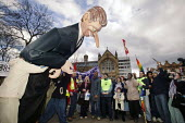 Anti-war protestors topple an effigy of Tony Blair in Manchester during the Labour party spring conference in the city. - Paul Herrmann - 13-03-2004