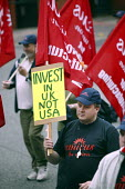 Amicus members march in Manchester in campaign to revive manufacturing jobs in the UK. Banner reads Invest in UK not USA. - Paul Herrmann - 05-06-2004