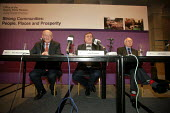 Labour ministers John Prescott, Nick Raynsford (left) and Jeff Rooker (right) launch ODPM Sustainable Communities 5 year plan in Manchester: Strong Communities: People Places and Prosperity - Paul Herrmann - 2000s,2005,Communities,Delivering,Labour Party,launch,mp,plan,POL politics,Sustainable