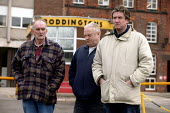 Workers outside the Boddingtons Brewery in Manchester on its last day of production, 25 Feb 2005 - Paul Herrmann - 25-02-2005