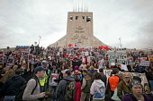 Thousands of protestors greeted Condoleezza Rice on the steps of Liverpool Catholic Cathedral on her tour of NW England with Jack Straw. - Paul Herrmann - 31-03-2006