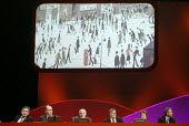 Gordon Brown, John Prescott, Hazel Blears, Tony Blair watching a video about Manchester with a LS Lowry painting, 2006 Labour Party Conference, Manchester, UK - Paul Herrmann - 24-09-2006