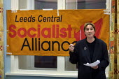 Liz Davies, former Labour Party National Executive Committee member, announced her resignation from the Labour Party and her support of the Socialist Alliance, at a rally in Leeds Town Hall. - Paul Herrmann - 2000s,2001,campaign,CAMPAIGNING,CAMPAIGNS,female,fringe,grass,Labour,Leeds,left wing,leftwing,NEC,New,Party,people,person,persons,POL politics,rallies,rally,resign,resignation,resigning,roots,Socialis