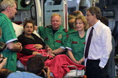 Tony Blair meets ambulance drivers and technicians at Staffordshire Ambulance Headquarters during the campaign for the 2001 General Election. - Paul Herrmann - 30-05-2001